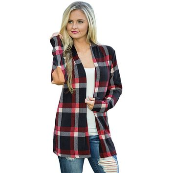 Chicloth Black Suede Elbow Patch Long Sleeve Plaid Cardigan