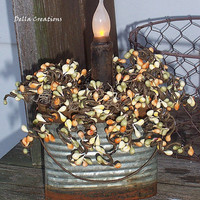 Lighted Pip Berry Arrangement - Rustic Tin with Battery-Operated Prim Candle and Sage, Peach and Cream Pip Berries