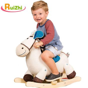 Ruizhi Children Cute plush Animal Trojan Wooden Solid Security Rocking Horse Baby Chair Indoor Kids Toys Gifts 18 Months RZ1124