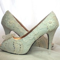 Something Bluebaby blue lacey wedding shoespeep by tlccreationsuk