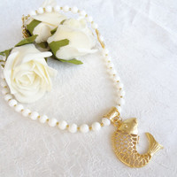 White Onyx Necklace, Wedding Jewelry, Fish Pendant Necklace, Gemstone Necklace, Gold Necklace, Wedding Necklace