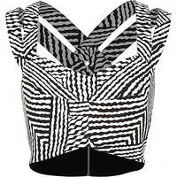 River Island Womens Black and white stripe strappy bralet