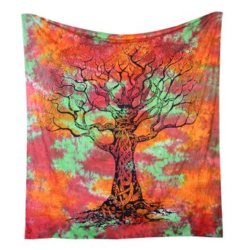 Tree of Fire And Life Boho India Bohemian Queen Tapestry