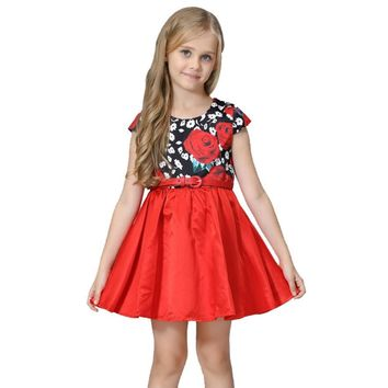 Rose Flower Pattern Dress With Belt Children Party dress for girls