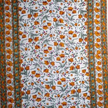 """Handmade 100% Cotton Floral Print Tablecloth Tapestry Coverlet Spread 70""""x106"""" Amber Olive"""