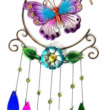 Bejeweled Display Unique Beautiful Butterfly w/ Stained Glass Wind Chimes
