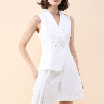Seeds of Charm Asymmetric Coat Dress in White