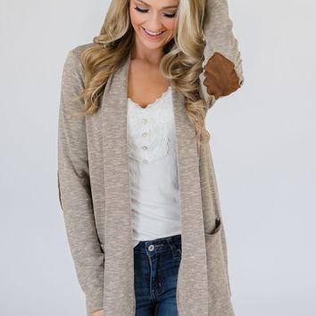 As Long As You Need Elbow Patch Cardigan- Mocha