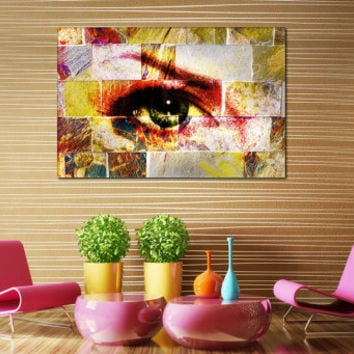 Abstract Eye Modern Art Print - Abstract Art Canvas Poster, Woman Eye Canvas Art for Home or Office Decoration