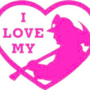 I love my firefighter - Fire Wife - Firefighter Girlfriend - Fire Fighter - Heart - Love Sticker Decal