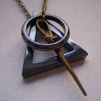 Deathly hallows symbol necklace Harry Potter by 1luckysoul