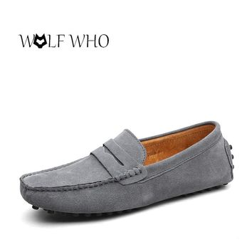 Shoes Men Loafers Moccasin Genuine Leather Gommino Male Footwear Slip On Flat Driving Boat Shoes Classical Chaussure Homme 38-48
