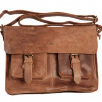Tobacco Brown Vintage Leather Bag Twin Buckle Messenger Bag Satchel by Rowallan