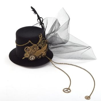 Women Steampunk Fascinator Mini Top Hat Hair Clip Punk Gothic Gear Wings