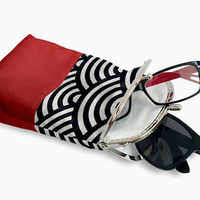 Red Eyeglasses Case Double Pockets, Sunglasses / Reading Case, Upholstery fabric, Silver Frame