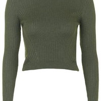Wool Mix Cropped Jumper - Khaki