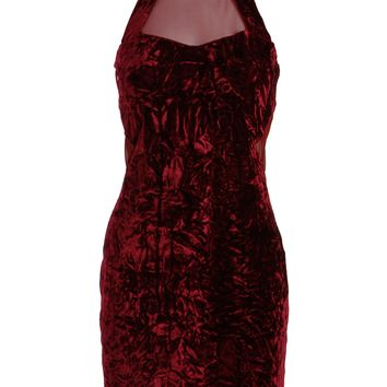 Burgundy Velvet High Neck Sheer Side Mesh Cutout Sleeveless Dress