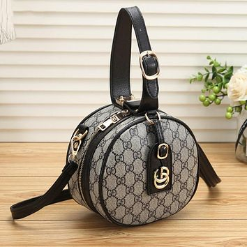 GUCCI Newest Fashionable Women Leather Circular Handbag Tote Crossbody Satchel Shoulder Bag Black