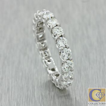 Modern Estate Platinum 3ctw G VS2 Diamond 3mm Wide Eternity Wedding Band Ring