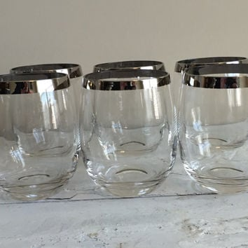 SET silver rim stemless wine glasses, vintage Thorpe tall roly poly cocktail glasses, wedding, hostess gift, bridal shower, bar cart glasses
