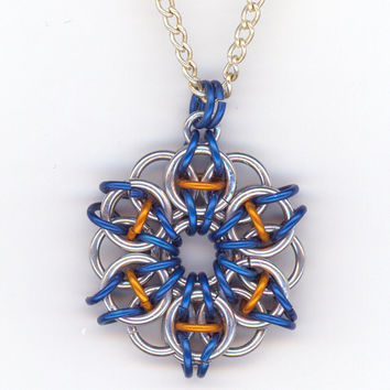 Celtic Star Pendant Chainmaille Style Blue and Silver by Lehane