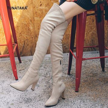 2017 New Faux Suede Winter Stretch Thigh Boots Zip Lace Up Suqare High Heel Pointed To