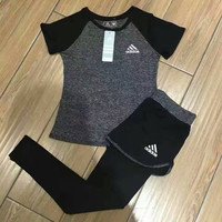 """Adidas"" Fashion Casual Multicolor Round Neck Short Sleeve Yoga Fitness Set Two-Piece Sportswear"