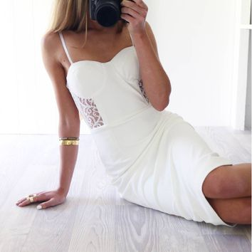 Homecoming Dress, White Lace Spaghetti-Straps Sheath Short Prom Dress