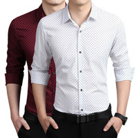 Autumn Men Korean Slim Print Cotton Long Sleeve Casual Men's Fashion Shirt [6541444483]