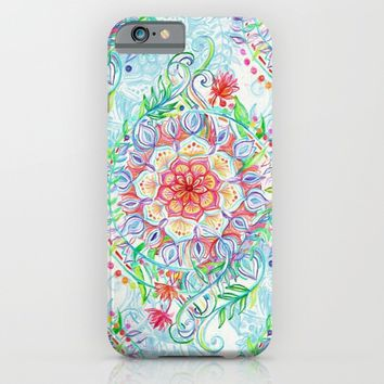 Messy Boho Floral in Rainbow Hues iPhone & iPod Case by Micklyn