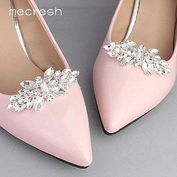 Mecresh Designer 2pcs/lot Flower Leaf Shape Crystal Bride High Heels Clips Horse Eyes Bridal Wedding Prom Shoes Buckles Women Shoe Accessories FREE SHIPPING