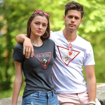 """Guess""Unisex Couple Fashion Casual Geometric Letter Pattern Print Short Sleeve  Shirt Top Tee"