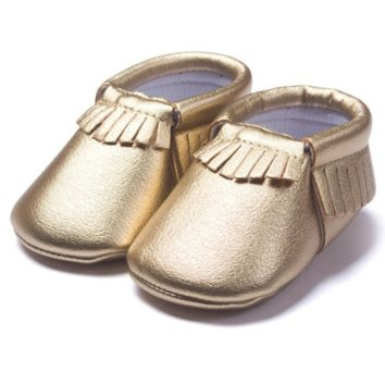 Gold Tassel Soft Sole Leather Baby, Toddler Moccasins