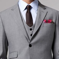ESSENTIAL GRAY HERRINGBONE THREE-PIECE SUIT