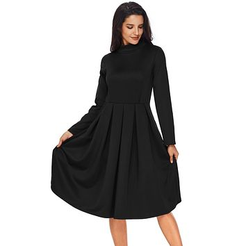 Chicloth Black Pocket Style High Neck Skater Dress