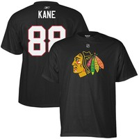 Mens Chicago Blackhawks Patrick Kane Reebok Black NetNumber T-Shirt