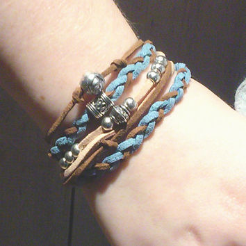 Boho Bead Wrap Bracelet - Suede Bead Bracelet - Triple Wrap Bracelet - Wrap Around Bracelet - Teal Wrap Bracelet - Gifts For Her