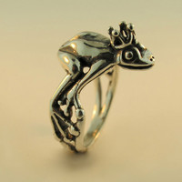 Silver Enchanted Frog Prince Ring by martymagic on Etsy