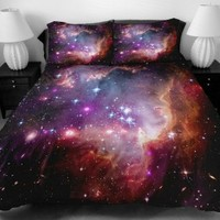 Anlye Luxury Bedding Set 2 Sides the Gift Ideas for Women Printing the Pretty Red Light on Space Bed Linen Sheets with 2 Throw Pillow Covers King
