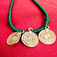 Gypsy coin jewellery/ statement coin jewellery / handmade coin jewellery / turkish coin jewellery / green statement jewellery / vintage coin