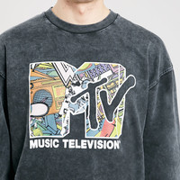 BLACK ACID WASH MTV SWEATSHIRT - Topman