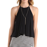 RACERBACK HALTER TOP - BLACK