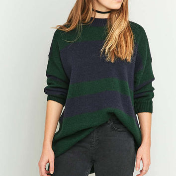 Urban Outfitters Wide Olive Striped Oversized Jumper - Urban Outfitters