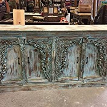 Mogulinterior Antique Blue sideboard cabinet media console Distressed Hand Carved Carved Living Room Decor