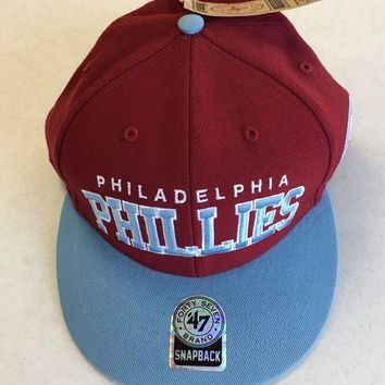 CREYONC. 47 BRAND PHILADELPHIA PHILLIES RETRO SKY BRIM SNAPBACK ADJUSTABLE HAT