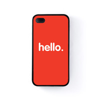 Hello Black Silicon Case Rubber Case for Apple iPhone 4 / 4s by textGuy