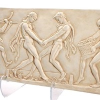 Dionysos Fauns Wine Festival Pressing Grapes Greek Wall Relief 22.5L