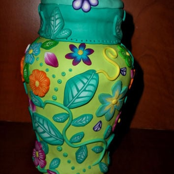 Handmade polymer clay covered vase - floral colourful