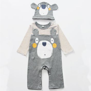 Baby Boy Bear Romper Cute Baby Bear Animal Costume Jumpsuit Long Sleeve Cotton Striped Infant Outfit Baby Clothes With Hat