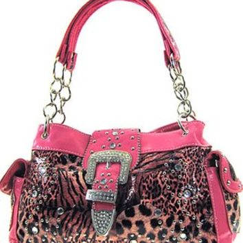 Animal Print Zebra Leopard Cheetah Western Rhinestone Buckle Satchel Purse (Hot Pink)